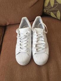 All white mens adidas superstars size UK 8.5