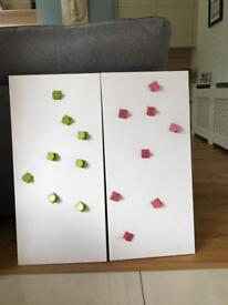 2x Magnetic white boards with magnets x2