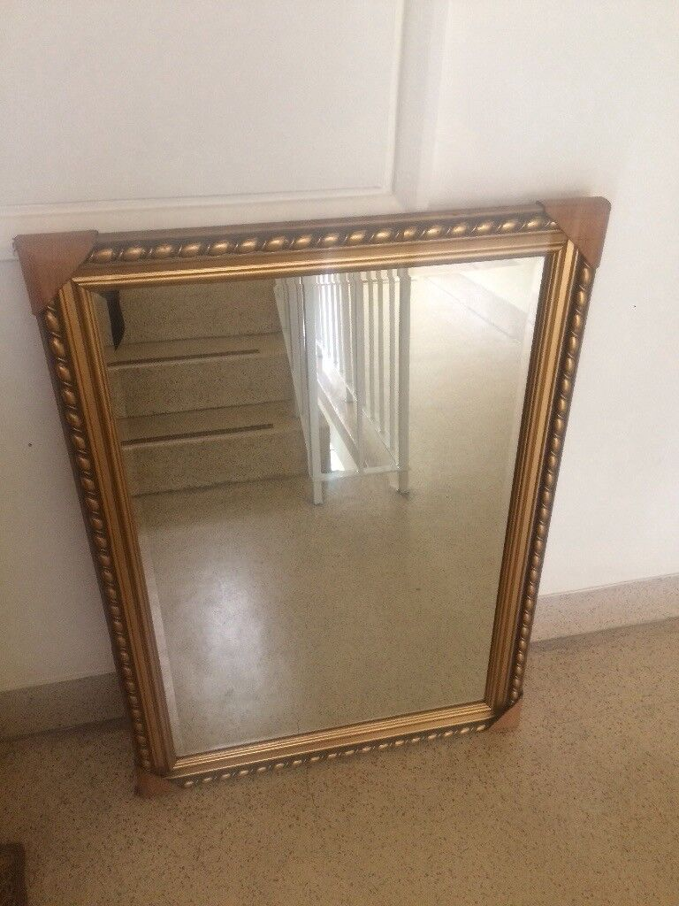 Large Ornate Gold Bevelled Mirror New