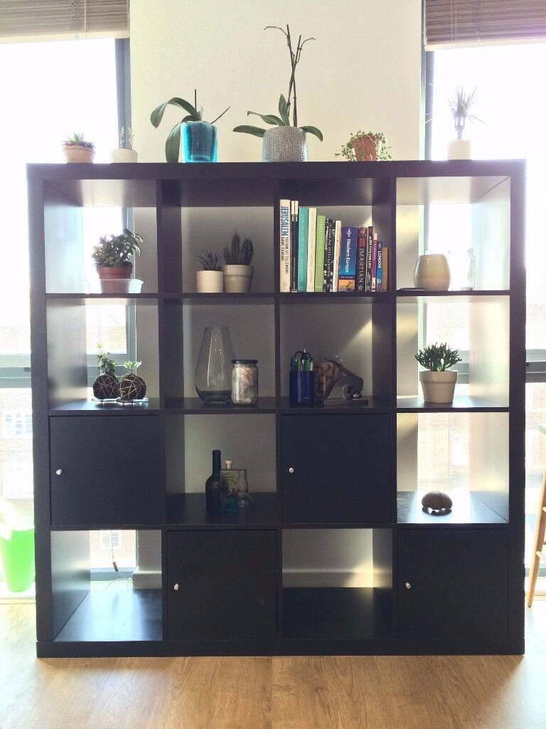 4x4 expedit kallax ikea black brown shelving unit with 4 inserts rrp 131 in london gumtree. Black Bedroom Furniture Sets. Home Design Ideas