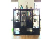 4x4 EXPEDIT / KALLAX IKEA Black-Brown Shelving Unit with 4 Inserts (RRP £131)