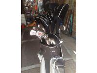 Full set Slazenger Firesteel Golf clubs and bag.