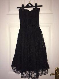 Size 10 strapless black lace dress