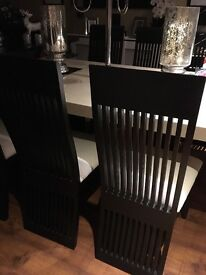 Stunning Black/Cream Dining Chairs - Immaculate condition.