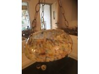 Light Shade . Vintage Flycatcher . Art Deco . 1930s . Glass Pendant with Chains