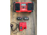 Milwaukee Radio, 2 x 5amp batteries and rapid charger