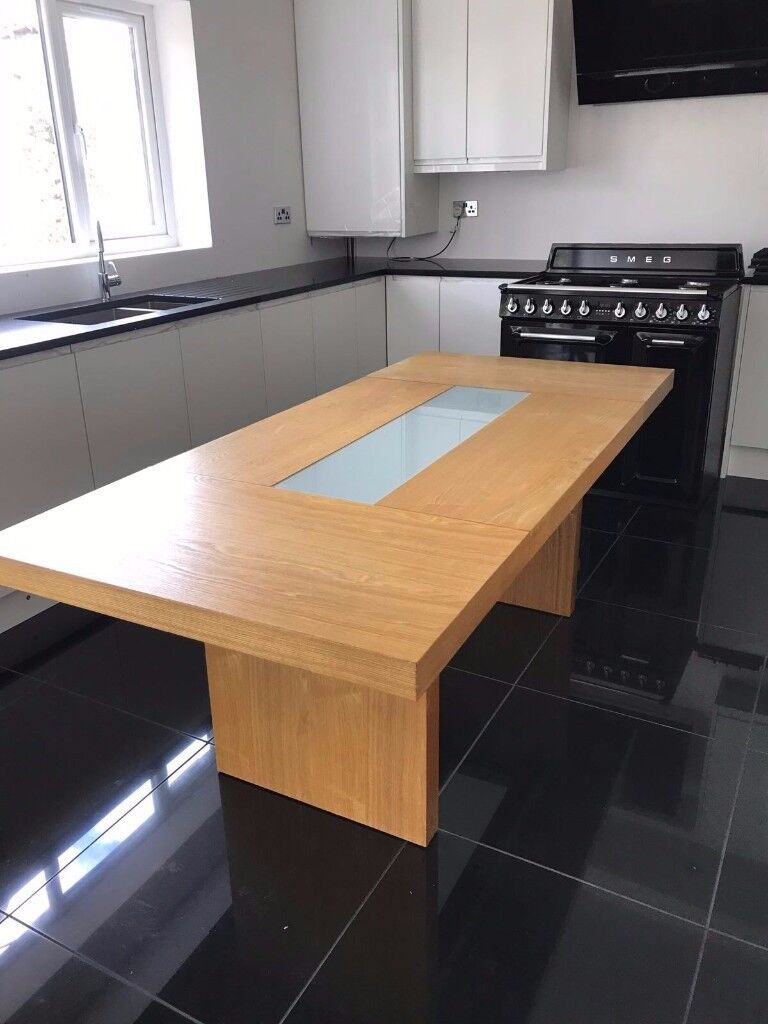 Large Dining Table with 3 Leather Chairs & full length Glass Top Sheet
