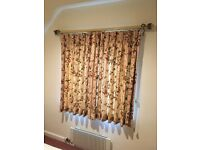 Stunning Colefax & Fowler curtains with a fabulous Holbein hand painted pole to match the fabric