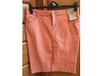 BNWT Tu red/ white striped denim skirt size 14