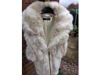 Exquisite Jane Norman Cream Fantasy Fur Zip Front Gilet Cardigan Uk12 Worn once