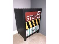 Bedside Cabinet - Excellent condition - Metal effect - Wooden Industrial Retro Draw unit