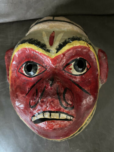 VINTAGE FOLK ART PAPER MACHE MALE MONKEY MASK