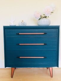 Upcycled Vintage chest of drawers mid-century - Amazing colors