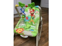 Fisher price baby bouncer chair rocker chair which vibrates with toys suitable from birth