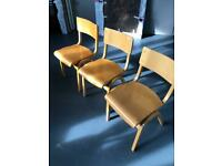4 wooden school chairs