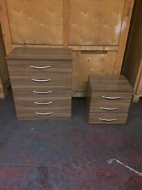 CHEST OF DRAWERS AND BED SIDE CABINET