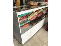 Glass counter table,