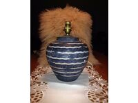 Pottery Lamp coloured height 9ins W. 8ins