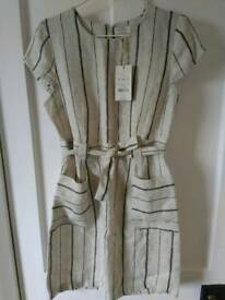 Brand New Monsoon Linen Stripe Dress Nude Nutral Cream Size 12