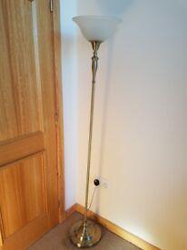 1 floor lamp cream shade wth btushef gold bronze colouring .