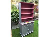 Welsh Dresser Sideboard Shabby Chic Grey Pink Floral Designer's Guild Solid Wood Cupboard Drawers