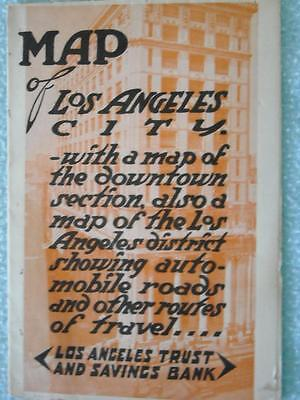 Map Los Angeles Trust and Savings Bank 1916 Vintage CA Auto Trip Advertising