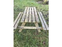 Wooden picnic bench.