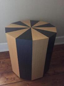 Moritz Wooden Side Table in Natural Ash and Black 'Wenge' Colour (New)