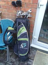 Full Set Of Dunlop 65 Golf Clubs, Bag