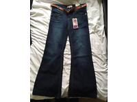 New jeans size 10 wide leg with cute belt