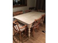 Shabby Chic,Up Cycled, 6 seater Dining room table and chairs - painted and distressed in Annie Sloan