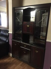 Large Mahogany Cupboard Glass Cabinet Display Shelves