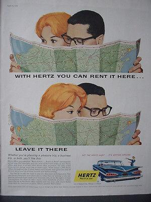 1959 Hertz Car Rental Couple Reads Map Vintage Print Ad 12417