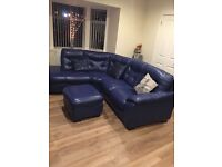 Immaculate blue corner sofa and foot stool
