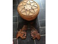 Two African masks & leather pouffe