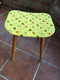 Genuine 50s/60s stool, wood with original patterned vinyl seat. Nice condition!