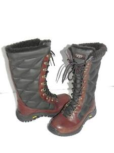 UGG Kintla Brown Quilted Nylon Lace Up Boots 6