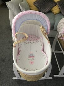 Moses baskets with rocking stands x2 perfect for twin girls