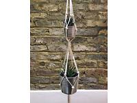 100 Cm Cotton Rope Macrame Double Plant Hanger Double Hanging Basket Indoor Outdoor Plant Pot,