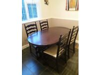Dark Oak Extendable Dining table and 4 chairs