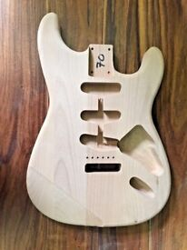Stratocaster Guitar Body. New Unfinished 2nd, Alder, Weight 1.82kg