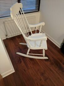 Solid wood white rocking chair