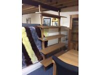 Solid oak leaning bookcase