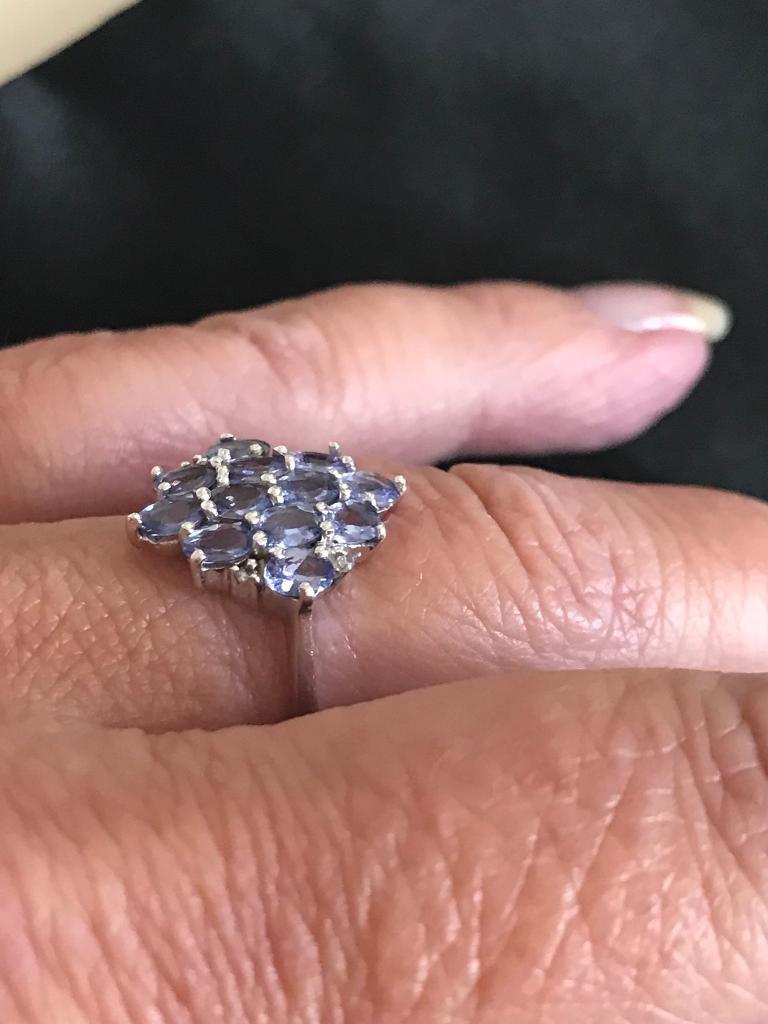 9 carat white gold tanzanite cluster ring | in Gedling ...