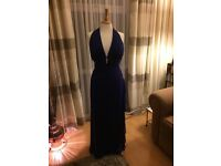 Royal blue evening dress with diamanté detail and plunge bust line size 14