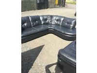 Black Leather Corner Sofa and Recliner Chair..