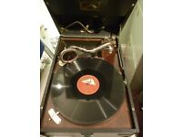 beautiful original his masters voice table top 78 speed gramophone in perfect working condition.....