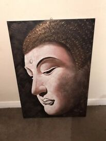 "Buddha Painting 70x100"" on canvas with relief, brown/beige with gold details"