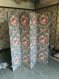 Vintage Fabric Covered Screen