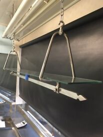 BUTCHER'S SHOP WINDOW FLOAT GLASS AND CHROME HANGING DISPLAY SHELF